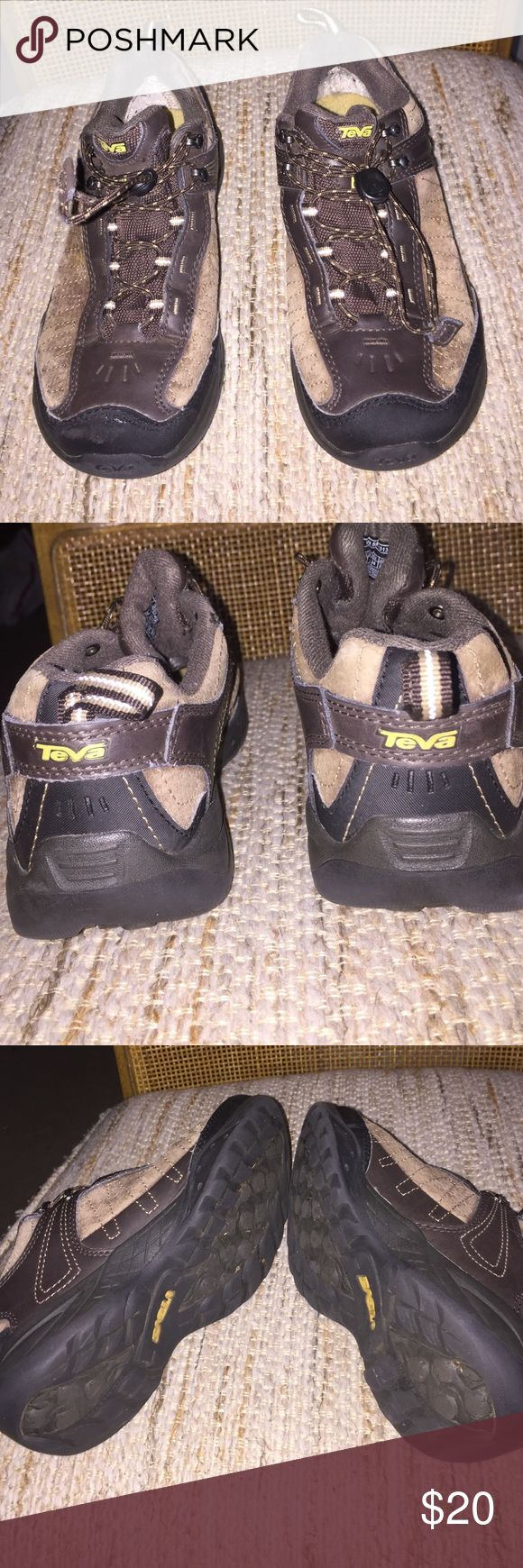 Teva Kids almost new rugged ankle boots Size 4.   Teva almost new brown and tan suede draw lace tough low cut boots. Worn only one time. Teva Shoes Boots