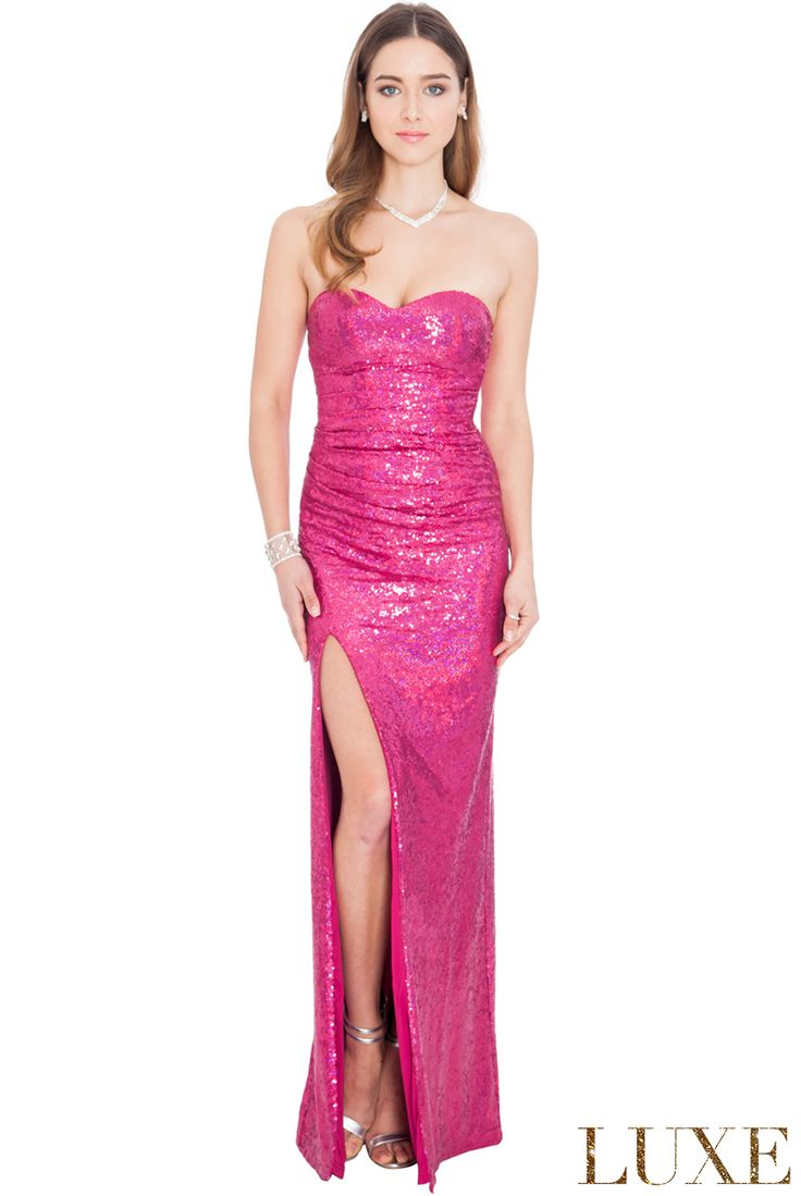 STRAPLESS SEQUINNED SPLIT MAXI DRESS #strapless #maxidress #sequin #sequindress #wholesaleclothing #eveningdress #partydress #goingoutdress