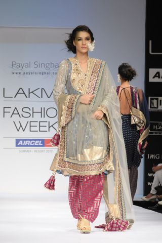 Ash Gray Tulle Mukaish Kalidaar Pakistani Kurta with Crystal Embroidered Yoke and Banarsi Georgette Chemise worn with Rani Pink Silk Brocade Salwar and Tulle Dupatta. SHOP THIS LOOK: http://www.payalsinghal.com/search/zoya-kalidar