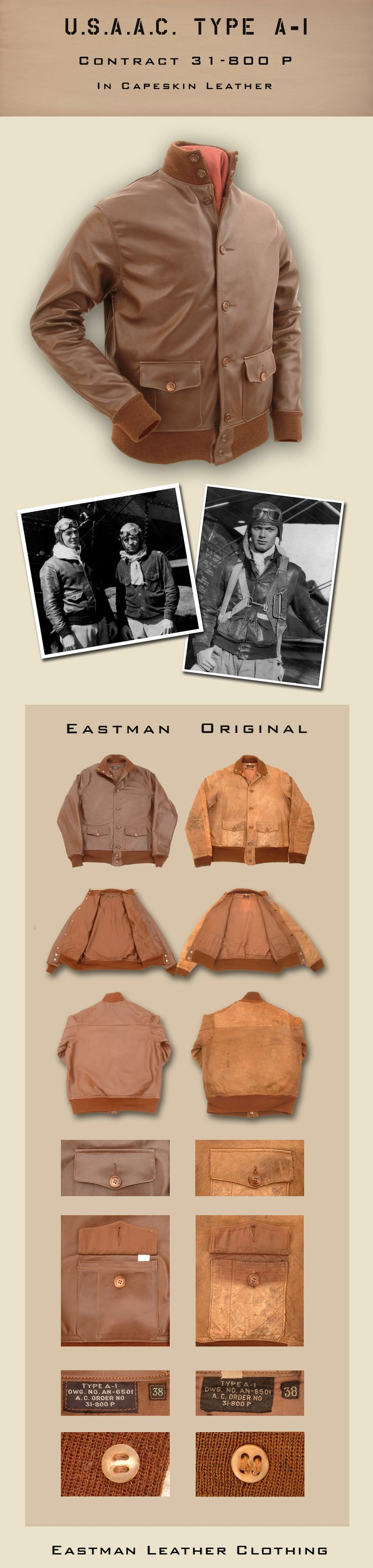 Eastman Leather Clothing - US Flight Jackets : Original Maker Jackets : A1cape