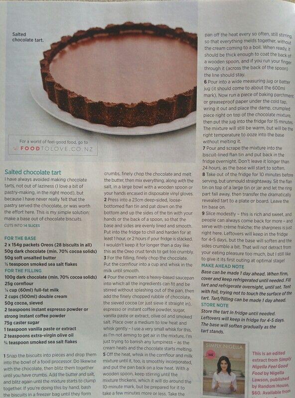 Salted chocolate tart (oreo crust pastry) nigella lawson
