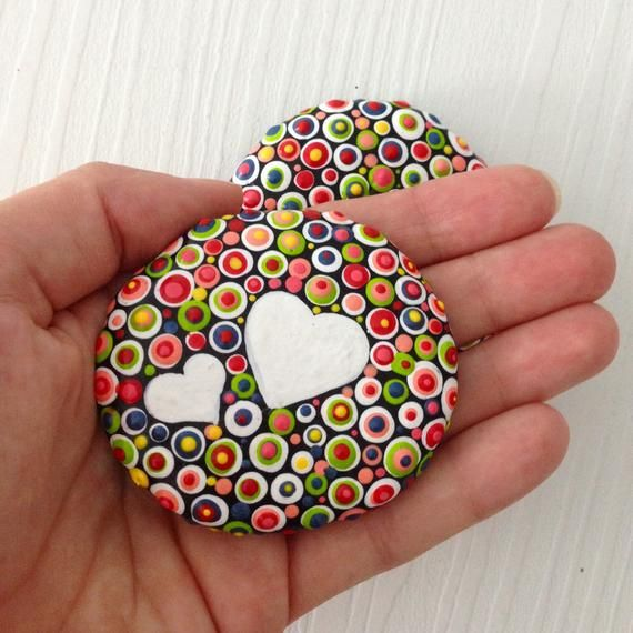 Polka dot Painted heart stones, love gift, Fairy Garden Gift Decoration Painted rock Beachstone, Christmas or Valentines gift