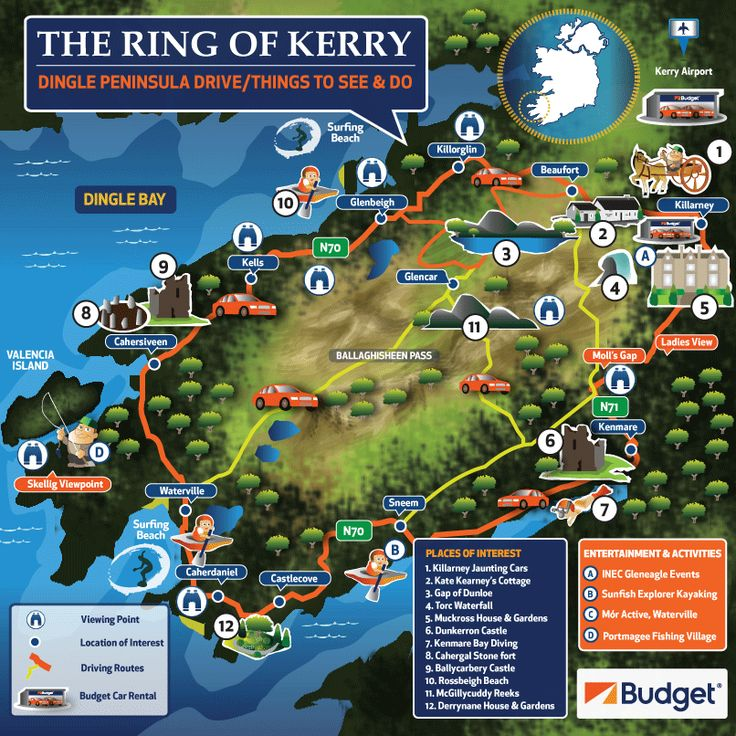 Planning a road trip? Check out the famous Ring of Kerry. 179km of mystical & unspoilt beauty on the Iveragh Peninsula. Some popular photo stops along the way are: The Gap of Dunloe, Muckross House and Gardens, Ladies View, Molls Gap, The Bog village near Glenbeigh, and Rossbeigh. Use our map to discover all these and more!