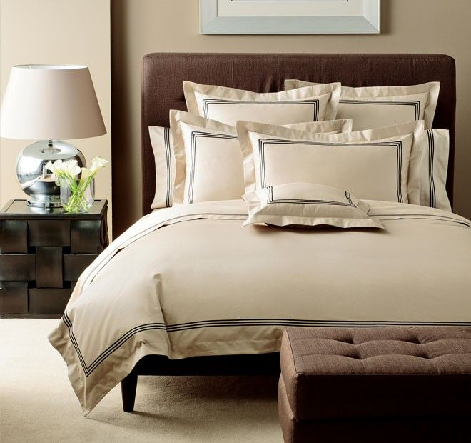Pembroke Quilt Cover Set Range Black and Taupe | Manchester Warehouse
