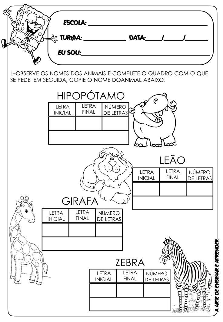 A Arte de Ensinar e Aprender: Atividade pronta - letra inicial, final e número de letras