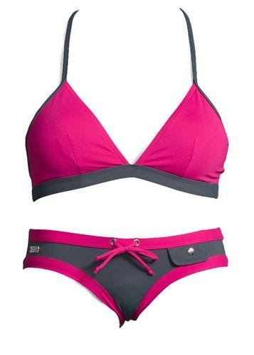 #BUFFALO #Damen #Triangel #Bikini #pink Scharfer Kontrast! Triangel-Bikini in neuer, zweifarbiger Optik. Top im Nacken zu binden und im Rücken zu schließen. Hose in modischer Hipsterform mit Zierschleife und Ziertasche vorne. Top in Orange, sowie Bikini in Mint erhältlich.
