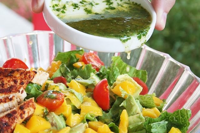 Cilantro Vinaigrette on Mango Chicken Salad ohsweetbasil.com