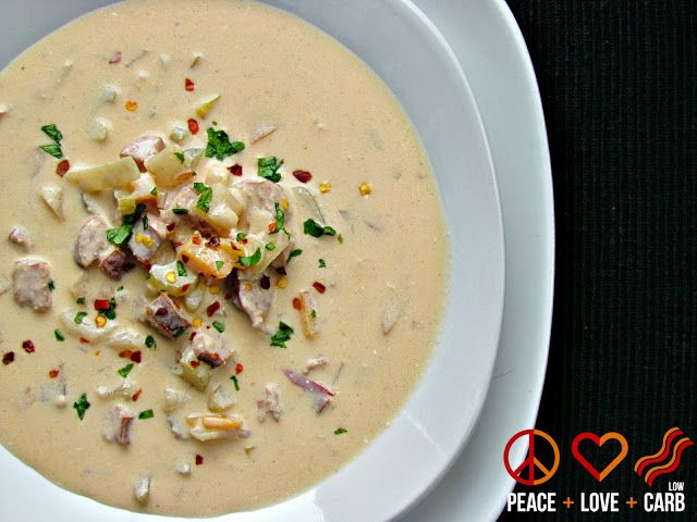 Smoked Sausage, Cheddar Beer Soup - Low Carb, Gluten Free | Peace, Love, and Low Carb