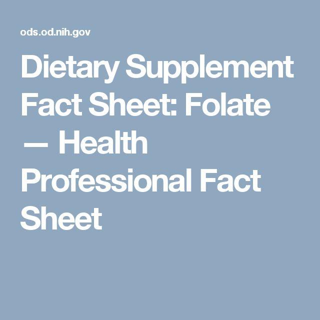 Dietary Supplement Fact Sheet: Folate — Health Professional Fact Sheet