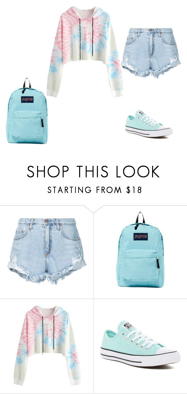 """""""School outfit #17"""" by thisisnotjs on Polyvore featuring Nobody Denim, JanSport and Converse"""