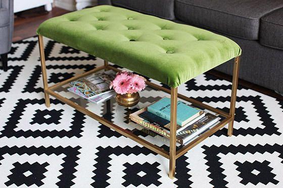 Recycle an old boring table into a luxurious pouf.Translate from Swedish. /// Har du drömt om en exklusiv sittpuff med förvaring? Nu behöver du inte gräva allt för djupt i fickorna, har du ett Ikea-bord och lite tid så är det enkelt fixat!