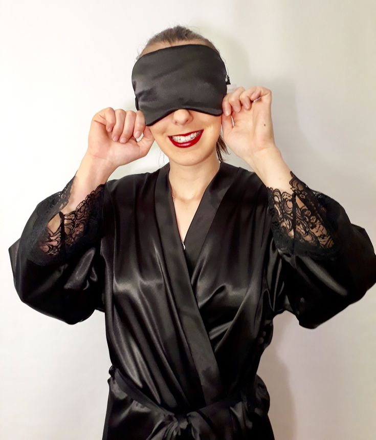 'Ebony' Sleep masks - 100gsm satin and lace - large face for extra restful zzz's. www.angiejcollection.com.au