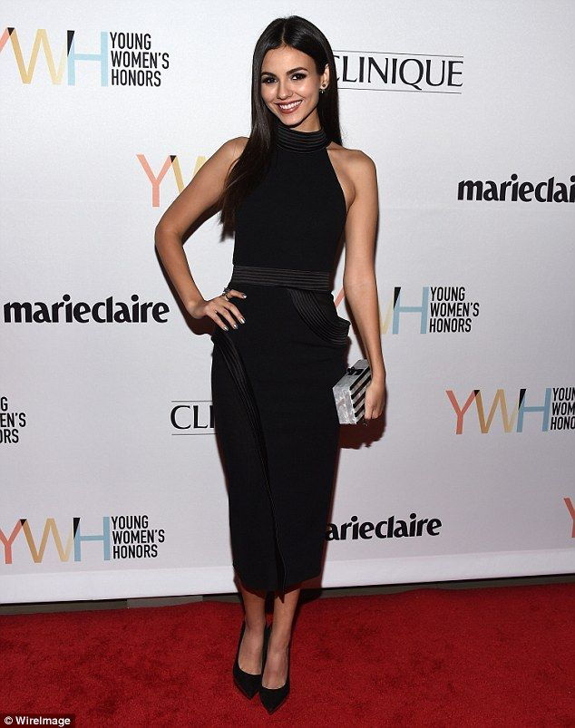 Stunner! Victoria Justice, 23, flaunted her svelte figure in a form-fitting couture frock