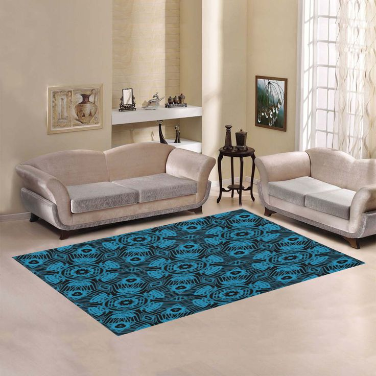 Black and Blue String Art 4406 Area Rug by Khoncepts