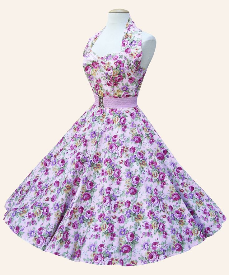 """""""Halterneck Floral Dress"""" - [1950's]~[Nothing says 'fifties frock' quite like an authentic, vintage floral print.]~[Manufactured in London, UK]'h4d'"""