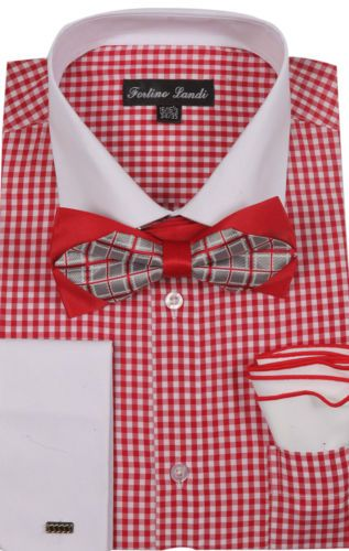 Mens-Unique-Checked-Dress-Shirts-French-Cuff-With-Bowtie-Hanky-Style-FL628