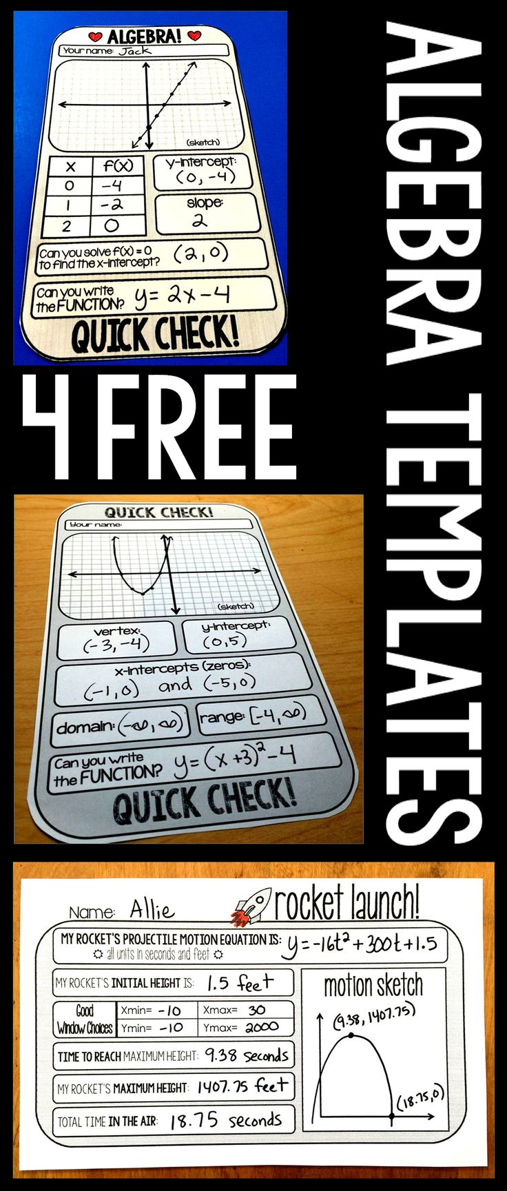 I LOVE warm-up templates! It makes life so much easier to know my warm-up is all set and ready to go. Here are 4 FREE warm-up templates that will work in Algebra 1 and Algebra 2. I use them in my Special Ed Algebra 2 classes. The repeated practice on the skills covered by the templates give my students a ton of confidence and has helped them retain information so much better. All of these templates are available for FREE download in my TpT store. They will also be linked at the bottom of thi