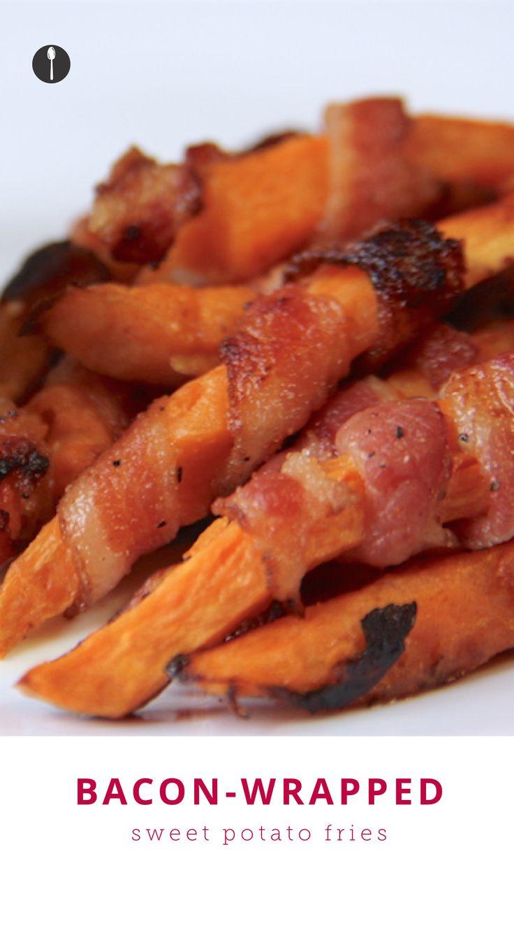 Bacon Wrapped Sweet Potato Fries Recipe — Dishmaps