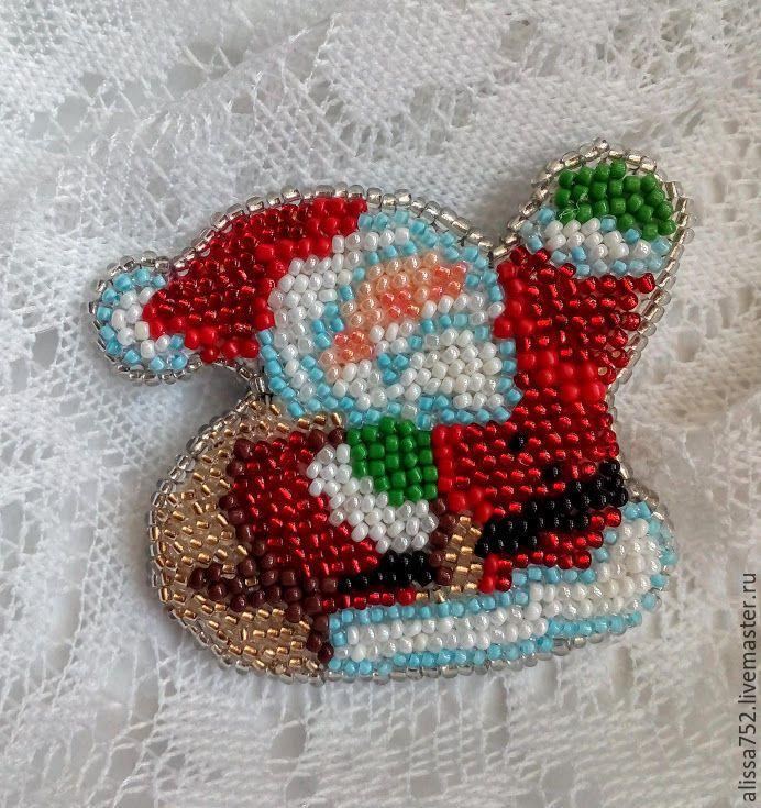 """Купить Брошь """"Дед Мороз"""" - комбинированный, брошь, брошка, ручная вышивка бисером"""