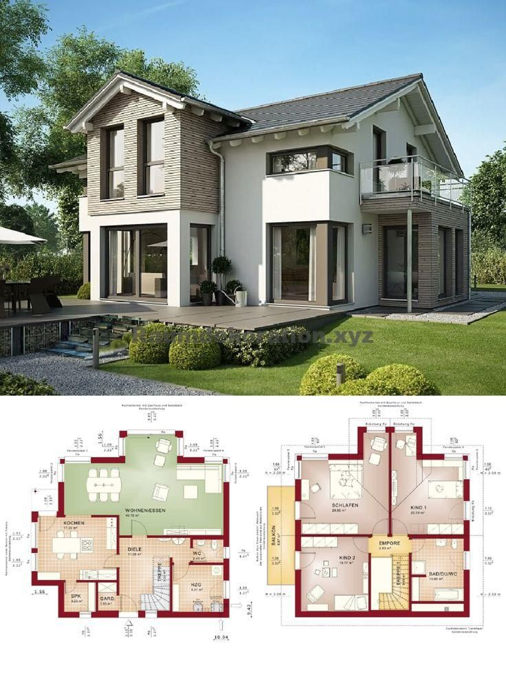 Architektur Ideen – Einfamilienhaus modern mit Satteldach-Architektur und Erker Anbau – Grundriss Ha