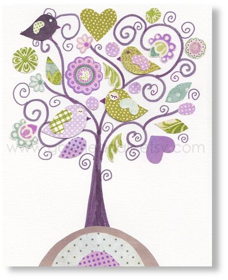 Nursery art print, nursery decor, baby nursery print, kids art, kids room decor, nursery wall art,,  Bird, Fantasy Tree 8x10 print. $14.00, via Etsy.