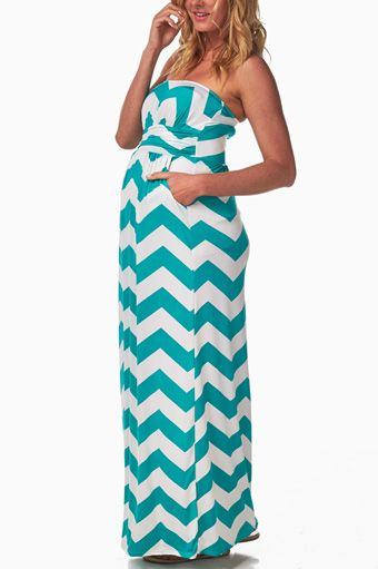 Turquoise-White-Chevron-Maternity-Maxi-Dress. Gorgeous for this summer!! Will be ordering soon.