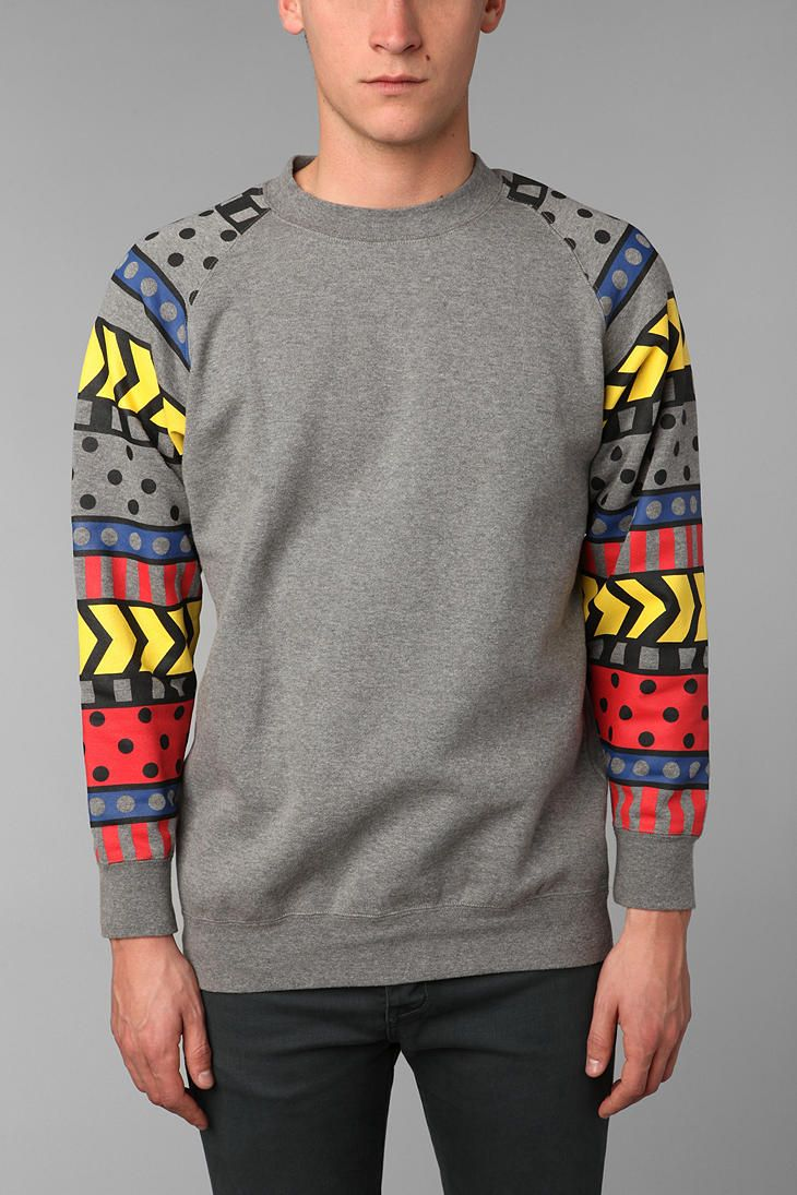 Lazy Oaf Pattern Sleeve Crew Sweatshirt from urbanoutfitters. I think I could DIY this..