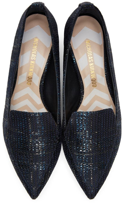 Nicholas Kirkwood - Black Metallic Weave Beya Loafers
