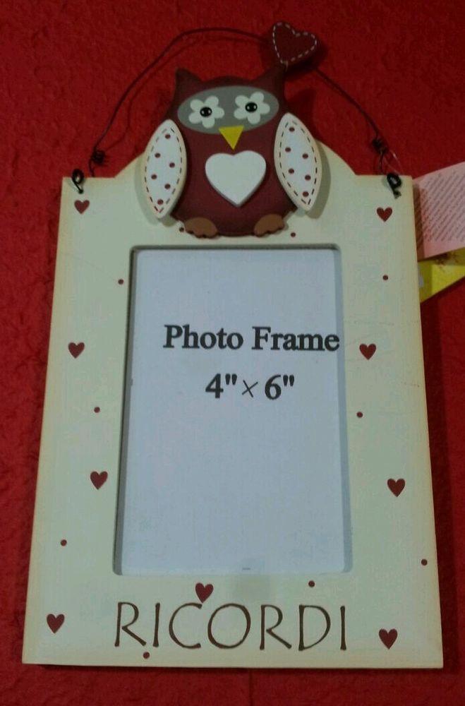 Portafoto legno gufo - foto 10x15 - Idea regalo Natale