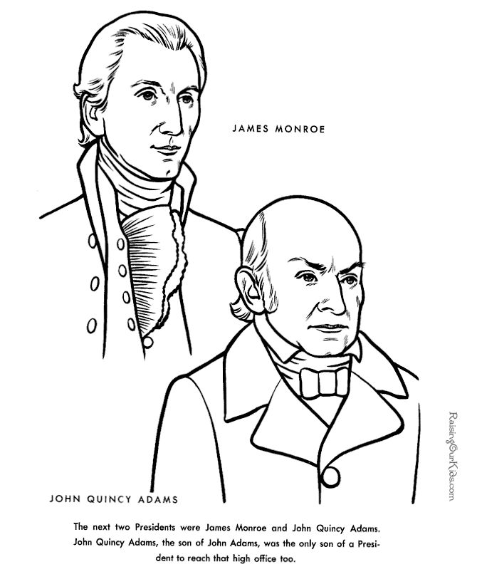 free printable president john quincy adams facts and coloring pictures