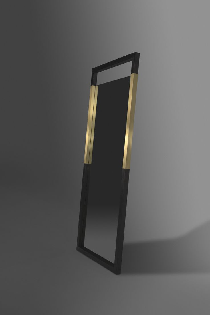 Broadway Mirror by AntonMakaDesigns Charred Ash Wood | Solid Brass Inlay  CUSTOM SIZING AND FINISHES AVAILABLE