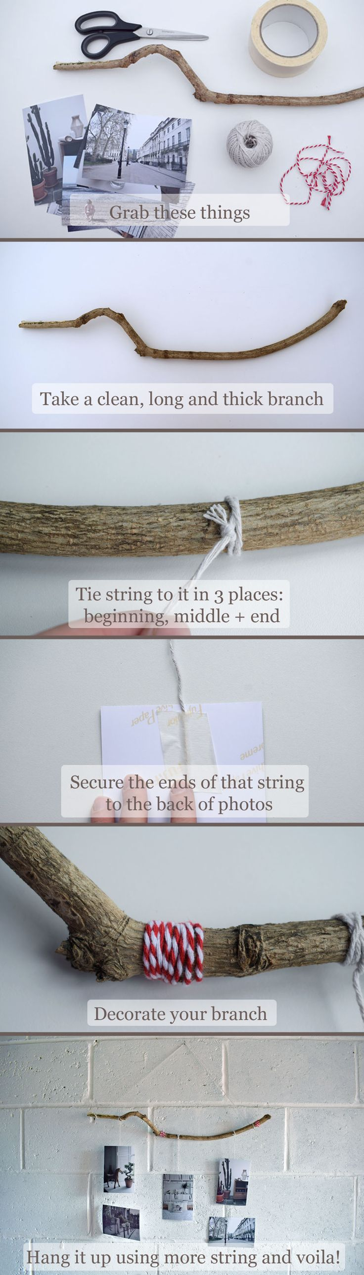DIY branch photo holder and hanger in easy steps. Video guide on The Fairytale Pretty Picture blog plus £80 giveaway for photography prints or canvas.