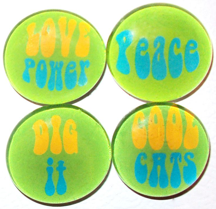 Set of 4 Hippie Word Magnets Green