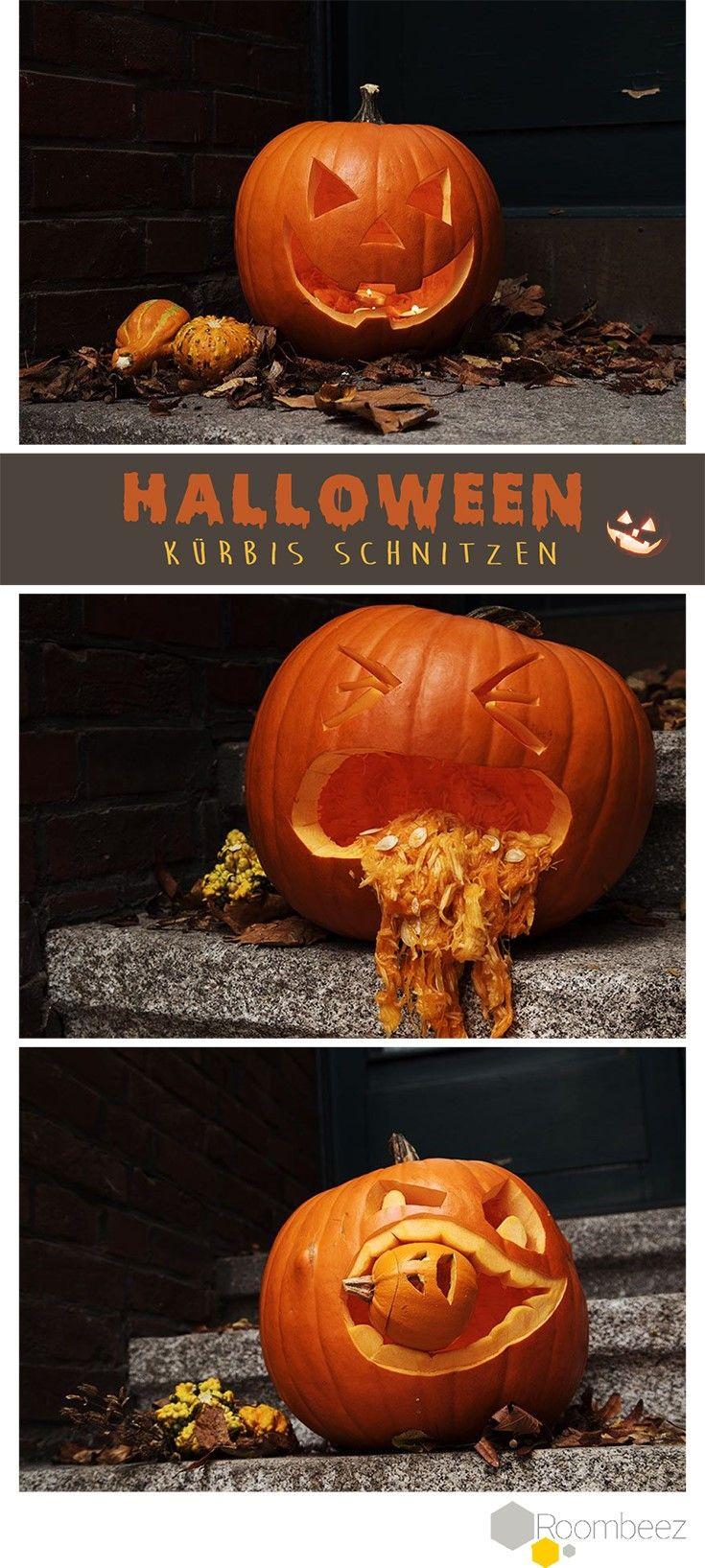 #Halloween #Kürbis schnitzen #DIY #Deko #Einfach #Mittel #Schwer An Halloween darf vor allem eines nicht fehlen » Kürbis schnitzen! Auf ROOMBEEZ findet ihr Anleitungen sowie Videos und Schnitzvorlagen in verschiedenen Schwierigkeitsgraden!