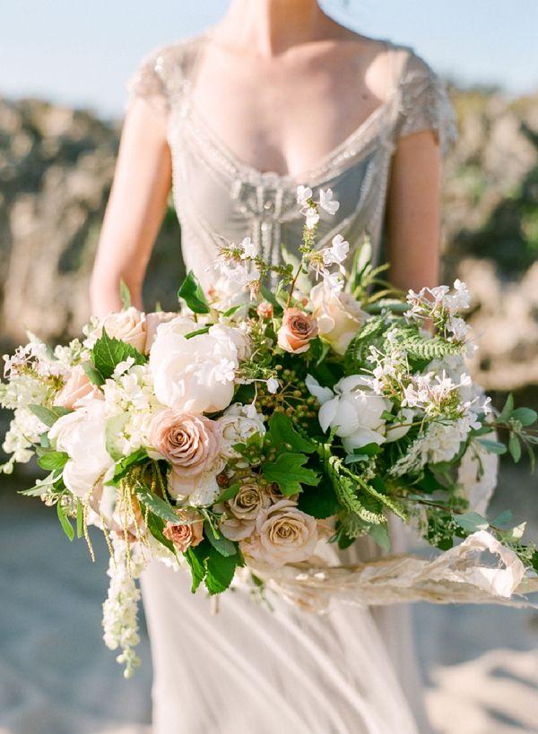 Organic Wedding Bouquet | Organic Coastal Wedding Inspiration by Connie Whitlock Photography