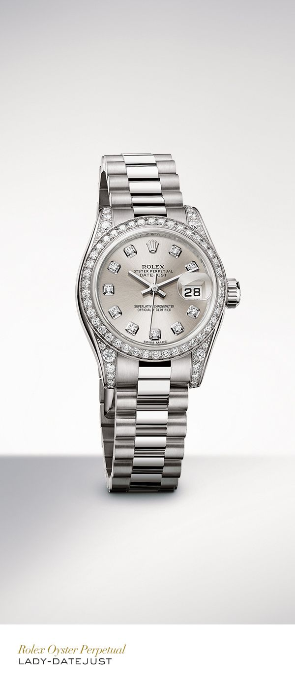 The Rolex Lady-Datejust 26mm in white gold with a diamond-set bezel, silver set with diamonds dial and President bracelet. #Festive #RolexOfficial