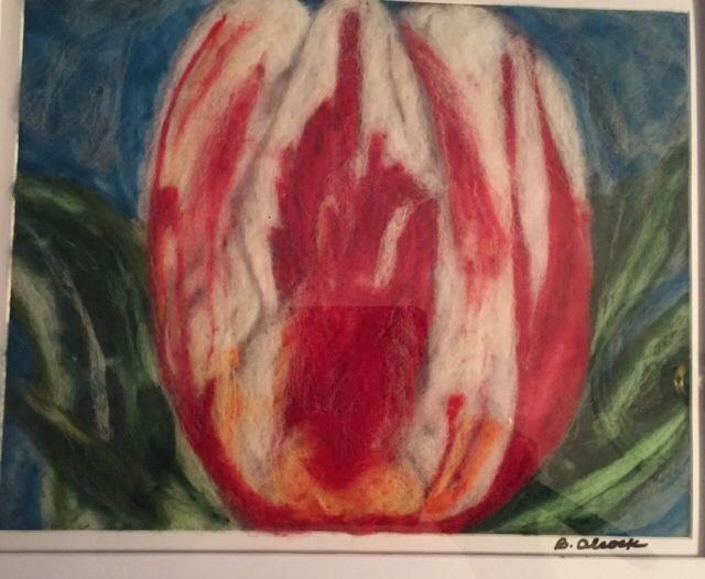 Canada's tulip - felt art by Bernadette Alcock www.gardeninspirations.ca #canadadaytulip #needleffelt art