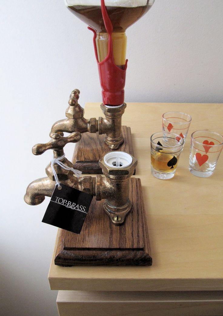 top brass vintage liquor dispenser by ionesAttic on Etsy