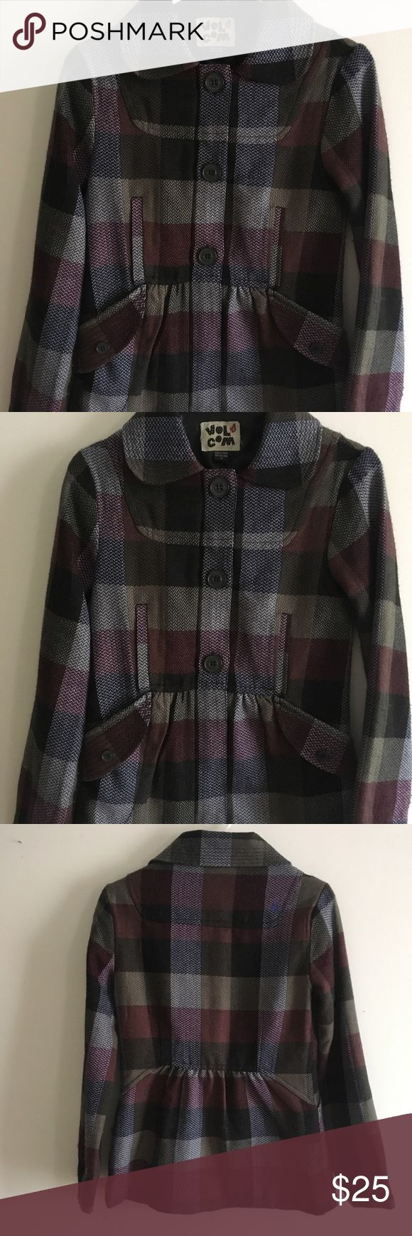 """Volcom """"Plaid to the Bone"""" Plaid Peacoat This light weight plaid peacoat is purple, burgundy, with olive and blue tones. Slight empire waist with button side pockets. Zipper closure with three buttons down the middle. It's a lightweight wool with silk lining. Minimal piling and in very good condition! Volcom Jackets & Coats Pea Coats"""