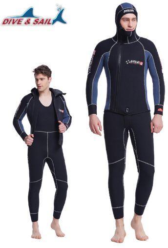 DIVE&SAIL WDS-4133. Двойной, теплый, профессиональный гидрокостюм с капюшоном из неопрена, толщиной 5 мм., для дайвинга, подводной охоты и др. Гидрокостюм для мужчин.