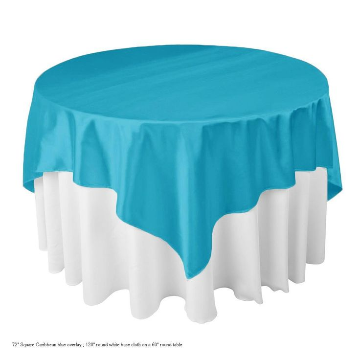 72 Quot Square Satin Overlay Over 120 Quot Round Poly On 60 Quot Table