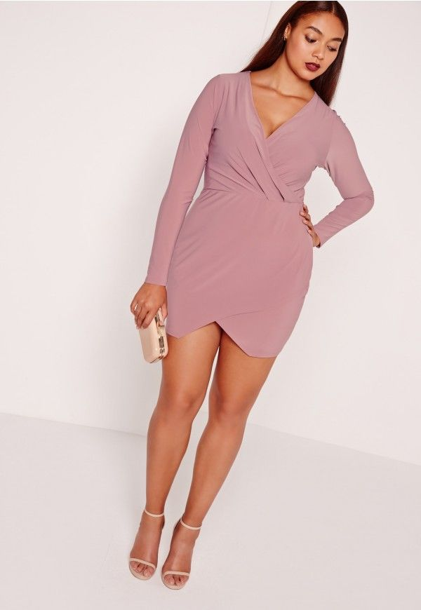 be ready to turn heads in this! In a lust-worthy slinky wrap over style and figure-flattering fit, this dress is a sure fire way to show off your curves and give them the attention they deserve! with long sleeves, plunge neck and wrap over ...