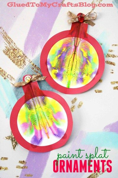 Paper Paint Splat Christmas Ornaments - Free Printable Template - Winter Kid Craft Idea