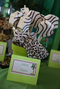 jungle baby shower food. Such a great idea! Lil debbie snacks on sticks!