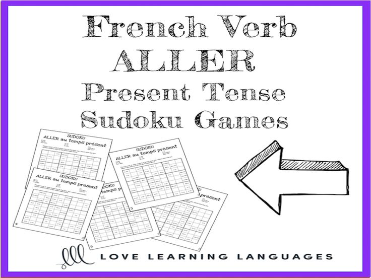 French verb aller present tense sudoku games - Le verbe aller au temps présent<br /> <br /> Use these sudoku games to practice the French verb aller in the present tense . 5 versions are included. Students place a verb in each empty box so that each row, ...