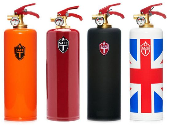 Designer fire extinguishers covered in leather