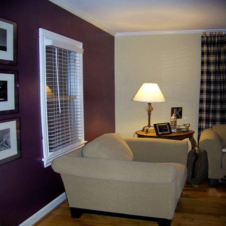 Purple accent wall in bedroom