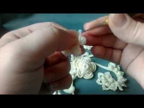 Курс Ирландского кружева Котельниковой Натальи.3й урок-2ой миникомпозиции - YouTube