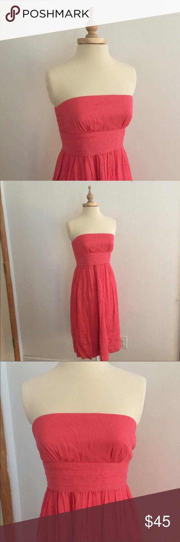 💕SALE💕 J Crew Silk Dress 100% silk strapless dress. Beautiful pink/coral color. Can be dressed up for a wedding or dressed down for summer fun. Dress is lined. Only worn once, excellent condition. J. Crew Dresses Strapless