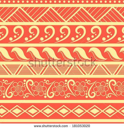 Tribal striped seamless pattern Hand drawn aztec ...